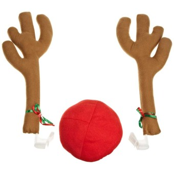 Fang Fang Hot Sales Cute Nylon Antlers with Red Nose ChristmasDecoration for Car - intl