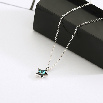Fapo s925 fresh silver blue star necklace