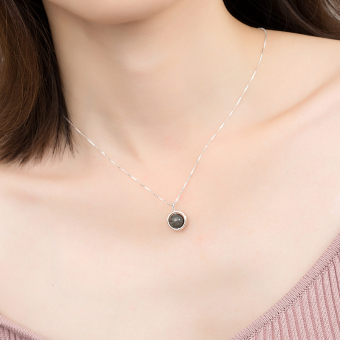 Fapo versatile female natural moon stone pendant silver necklace