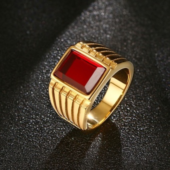 Fashion Big Red Stone Ring for Men Women Cool Gold-Color 316lStainless Steel Jewelry, Size 7-12 - intl