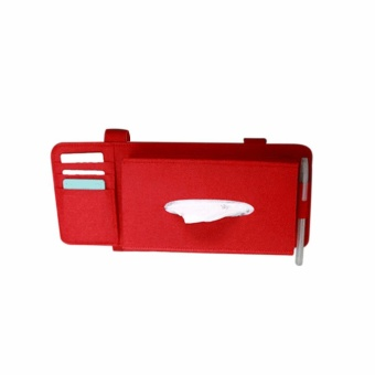 Fashion Car Styling Case Sun Visor Type Wool Felt Hanging Tissue Box Car Napkin Holder Vehicle Accessories Pocket Organizer Pouch Card Storage - intl