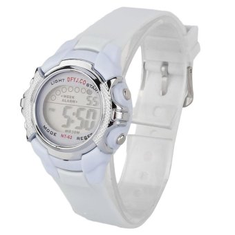 Fashion Children Digital LED Quartz Alarm Date Sports Wrist WatchWhite