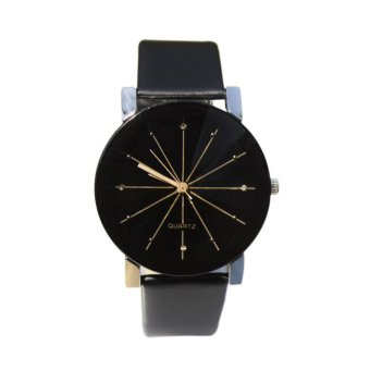 Fashion Couple PU Leather Watchband Round Dial Wrist Watch For Men (Black)