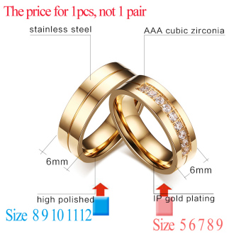 Fashion Couple Rings Gold Plated Ring for Women Man Cubic ZirconiaCZ Diamond Wedding Band Stainless Steel Romantic Jewelry - intl - 2