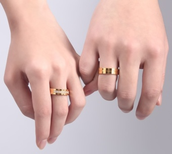 Fashion Couple Rings Gold Plated Ring for Women Man Cubic ZirconiaCZ Diamond Wedding Band Stainless Steel Romantic Jewelry - intl - 3