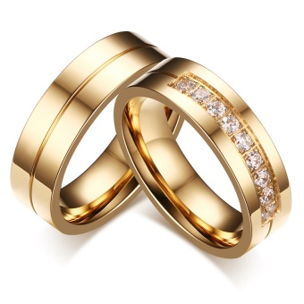Fashion Couple Rings Gold Plated Ring for Women Man Cubic ZirconiaCZ Diamond Wedding Band Stainless Steel Romantic Jewelry - intl