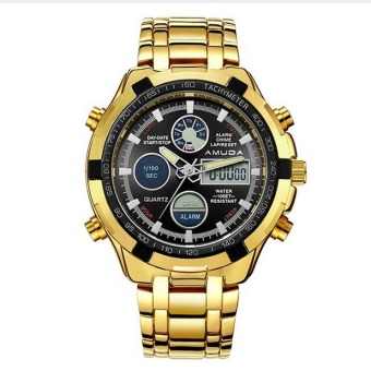 Fashion Digital Watch Men Led Full Steel Gold Mens Sports Quartz-Watch (Gold)