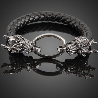 Fashion Dragon Ring Man Braid Bracelet Leather Band Bangle Black -intl