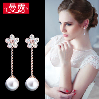 Fashion female flash diamond pearl earrings stud