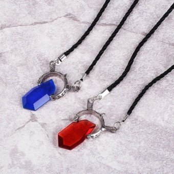 Fashion Game Devil May Cry Dante Ruby Amulet Pendant Anime NecklaceBlue/Red - intl