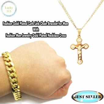 Fashion Gold Plated Curb Link Chain Bracelet for Men With Fashion Men Jewelry Gold Plated Necklace Cross Plating Cristal
