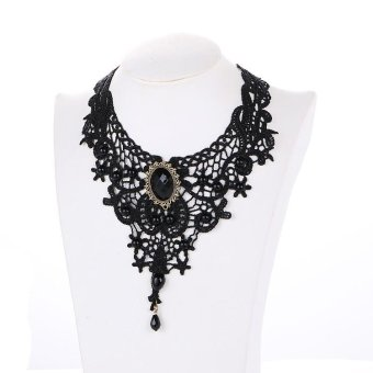 Fashion Gothic Necklaces For Women Handmade Jewerly Retro Vintage Black Lace Beads Rhinestone Choker Collar Necklace Jewelry - intl