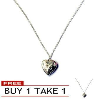 Fashion Heart Pendant Locket Silver Necklace 0.025kg