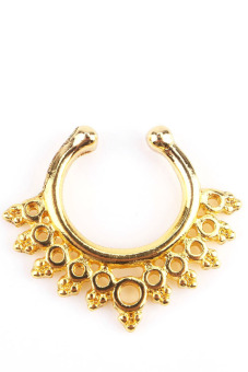 Fashion Hollow Jewerly Non Piercing Nose Ring Hoop Clip Gold