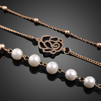 Fashion Imitation Pearl Multilayer Necklace Long Chain Sweater Necklace (Intl) - picture 2