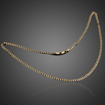 Fashion Jewelry Men Women Gold Plated Flat Curb Link Chain Necklace Gift - picture 2