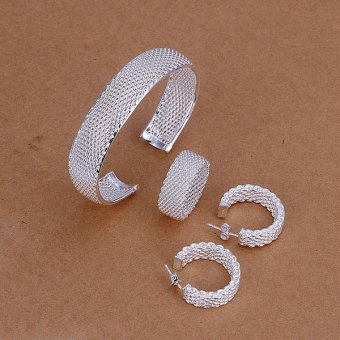 Fashion Jewelry Set Bracelet Ring Earring for Women - intl