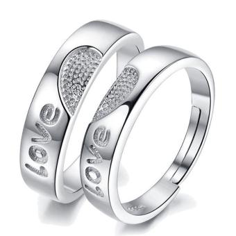 Fashion Lovers Rings Silver Adjustable Couple Ring Jewelry E009 - intl