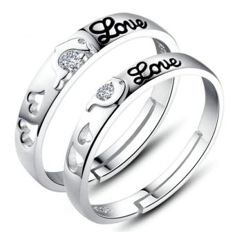 Fashion Lovers Rings Silver Adjustable Couple Ring Jewelry E011 - intl