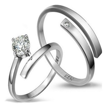 Fashion Lovers Rings Silver Adjustable Couple Ring Jewelry E012 - intl