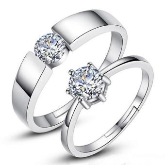 Fashion Lovers Rings Silver Adjustable Couple Ring Jewelry E013 - intl