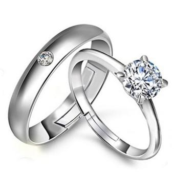 Fashion Lovers Rings Silver Adjustable Couple Ring Jewelry E019 - intl