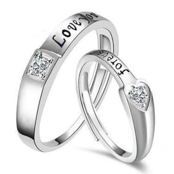 Fashion Lovers Rings Silver Adjustable Couple Ring Jewelry E025 - intl