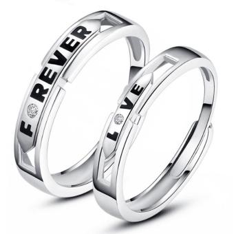 Fashion Lovers Rings Silver Adjustable Couple Ring Jewelry E026 - intl - 4