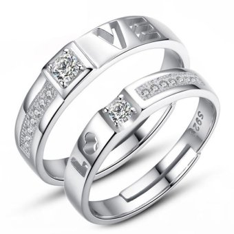 Fashion Lovers Rings Silver Adjustable Couple Ring Jewelry E027 - intl