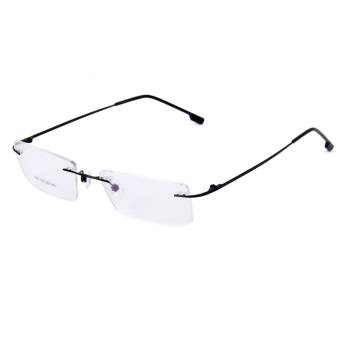 Fashion Metal Rimless Eye Glasses Eyeglasses Black Frame Lightweight