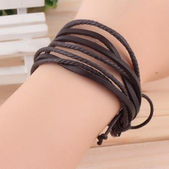 Fashion Multilayer PU Leather Wristband Cuff Bracelet (Brown) - 2