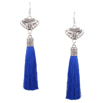 Fashion National Retro Tassel Earrings Blue - intl Price Philippines