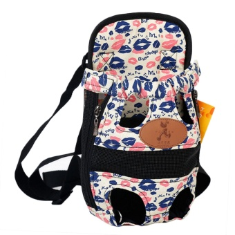 Fashion Pet Cat Dog Puppy Outdoor Traveling Front Backpack CarrierBreathable Dual Shoulder Bag with Leg Holes Size M for Pet LessThan 3.5kg Lip Style - intl