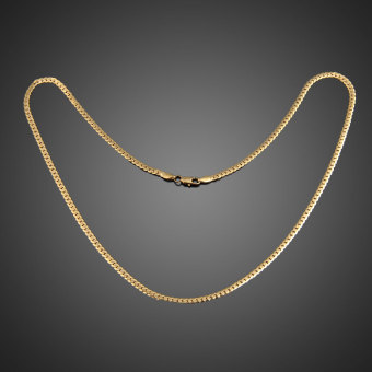 Fashion Simple Design Gold Plated Flat Curb Chain Necklace for Men Women - 3