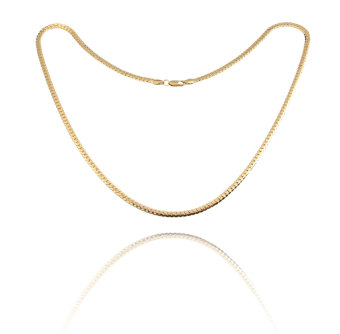 Fashion Simple Design Gold Plated Flat Curb Chain Necklace for Men Women