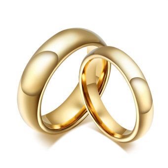 Fashion Tungsten Couple Rings 6MM/4MM Wide 18k Gold Plated Wedding Ring for Women and Men Jewelry - intl