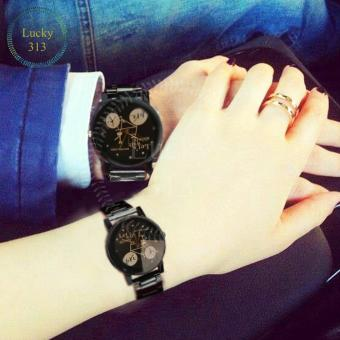 Fashion Watch Stainless Steel Bracelet for Couple (Black BG)