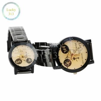 Fashion Watch Stainless Steel Bracelet for Couple (Gold BG) - 3