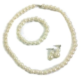 Fashion Wedding Bridal Faux Pearl Necklace Bracelet Earring Jewelry Set 27g