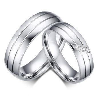 Fashion Wedding Rings Stainless Steel Ring Female Male Promise Ring Cubic Zirconia Couple Jewelry Sales Promotion - intl
