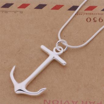 Fashion Women Anchor Pendant +Snake Chain Silver Necklace Statement- intl