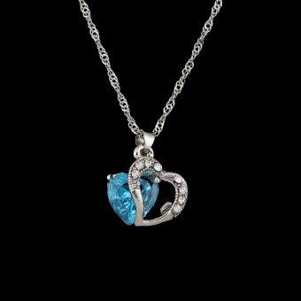 Fashion Women Heart Crystal Rhinestone Silver Chain Pendant Necklace Jewelry Silvery&Blue