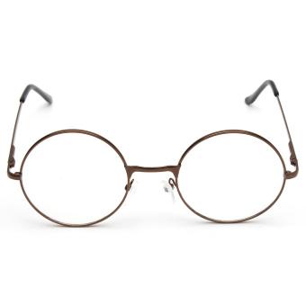 Fashion Women Men Vintage Round Mirror Lens Eyeglasses Glasses Eyewear Unisex coffee - 3