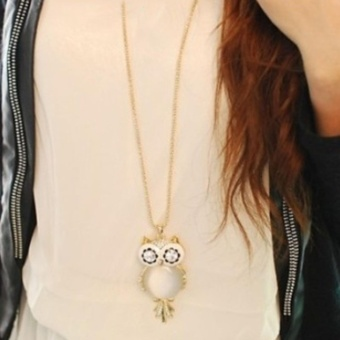 Fashion Women Necklace Cute Owl Style Rhinestones Pendant Sweater Necklaces Jewelry - intl