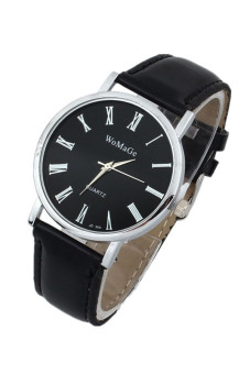 Fashion Women's Black Classic Leather Strap Watch - picture 2