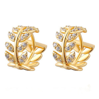 Fashion Women'S Elegant 14K Gold Plated Jewelry Stud Dangle Earrings Earbob Ear-Ring Willow Leaves (Intl) - picture 2