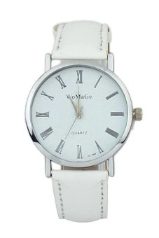 Fashion Women's White Classic Leather Strap Watch