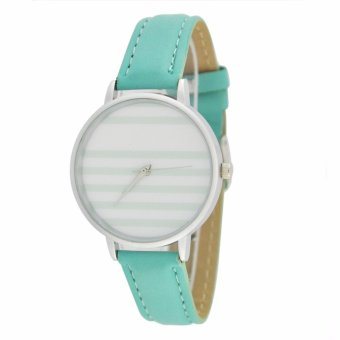 Fashionable Stripe Casual Analog Leather Strap Watch (Mint)