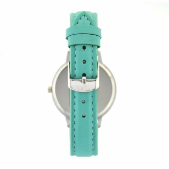 Fashionable Stripe Casual Analog Leather Strap Watch (Mint) - 2