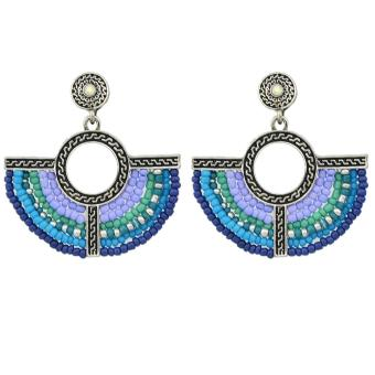 Feelontop Bohemian Style Colorful Beads Fan Shape Dangle Earrings -intl Price Philippines